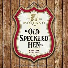 Morland Alt Gefleckter Henne Bier Werbe Bar, Alte Pub Drink Pumpe Abzeichen Brewery Fass Fass Fassbier Real Ale Pint Alkohol Hops Form Metall/Stahl Wandschild - 27 x 20 cm