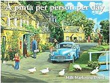 Morris pickup, flachbett motor Auto. Milchmann auf lieferung, land fassung Für haus, zuhause, pub, cafe oder bar Metall/Stahl Wandschild - 20 x 30 cm