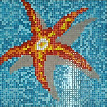 Mosaik Bild Glas orangegelb Bild Seestar