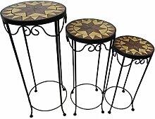 Mosaik Blumenhocker 3er Set rund aus Metall