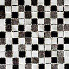 Mosaik Fliese Aluminium Alu alu grau schwarz für