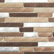 Mosaik Fliese Aluminium beige braun Verbund Alu