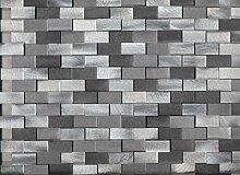 Mosaik Fliese Aluminium Brick Aluminium 3D alu