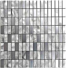 Mosaik Fliese Aluminium Rechteck Alu silber