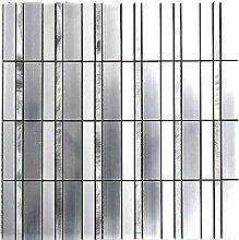 Mosaik Fliese Aluminium Rechteck Alu silber matt