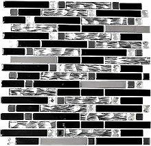 Mosaik Fliese Edelstahl schwarz Stäbchen