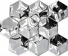 Mosaik Fliese Edelstahl silber Hexagon 3D Stahl