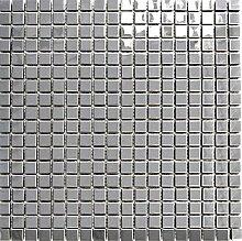 Mosaik Fliese Edelstahl silber silber Stahl