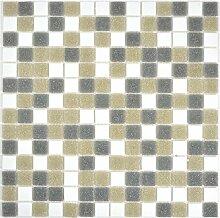 Mosaik Fliese Glas weiß grau braun für WAND BAD