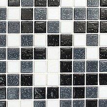 Mosaik Fliese Glas weiß grau schwarz für BODEN