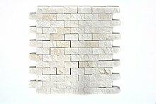 Mosaik Fliese Kalkstein Naturstein weiß Brick