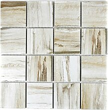 Mosaik Fliese Keramik beige Holzoptik hell für
