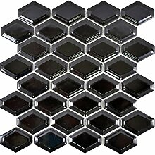 Mosaik Fliese Keramik Diamant Metro schwarz
