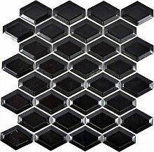 Mosaik Fliese Keramik Diamant Metro schwarz matt