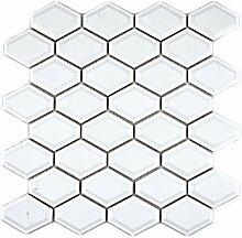 Mosaik Fliese Keramik Diamant Metro weiß