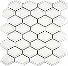 Mosaik Fliese Keramik Diamant Metro weiß matt