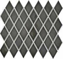 Mosaik Fliese Keramik Diamant schwarz glänzend