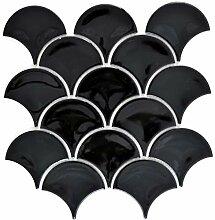 Mosaik Fliese Keramik Fächer schwarz glänzend