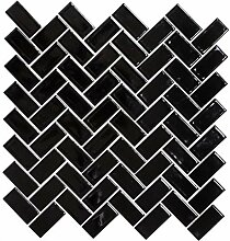 Mosaik Fliese Keramik Fischgrät schwarz glänzend