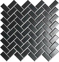 Mosaik Fliese Keramik Fischgrät schwarz matt