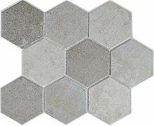 Mosaik Fliese Keramik grau Hexagon Zement Küche