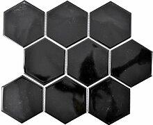 Mosaik Fliese Keramik Hexagon schwarz glänzend