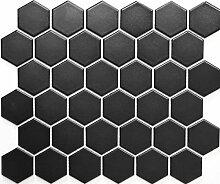 Mosaik Fliese Keramik Hexagon schwarz matt