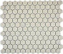 Mosaik Fliese Keramik Hexagon schwarz weiß matt