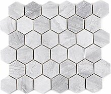 Mosaik Fliese Keramik Hexagon Travertin grau matt