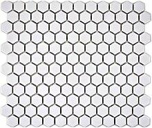 Mosaik Fliese Keramik Hexagon weiß glänzend