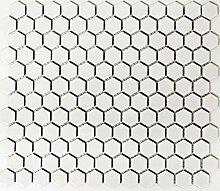 Mosaik Fliese Keramik Hexagon weiß matt Wand