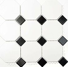 Mosaik Fliese Keramik Octagonal weiß matt schwarz