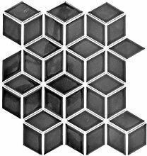 Mosaik Fliese Keramik schwarz 3D Würfel schwarz