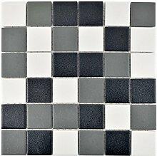 Mosaik Fliese Keramik schwarz weiß metall für