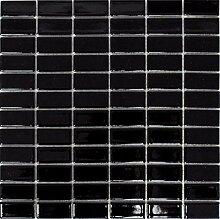 Mosaik Fliese Keramik Stäbchen schwarz glänzend