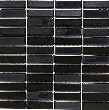Mosaik Fliese Keramik Stäbchen schwarz matt Glas