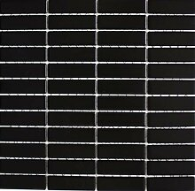 Mosaik Fliese Keramik Stäbchen schwarz matt