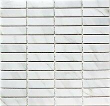Mosaik Fliese Keramik Stäbchen Steinoptik weiß