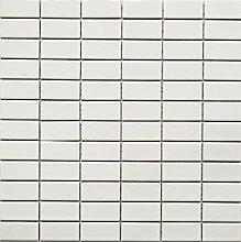 Mosaik Fliese Keramik Stäbchen weiß glänzend