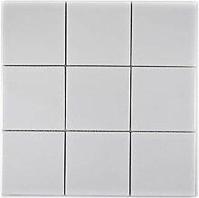 Mosaik Fliese Keramik weiß glänzend