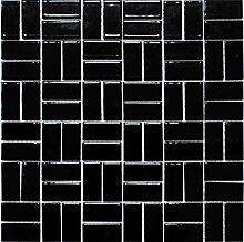 Mosaik Fliese Keramik Windmühle schwarz glänzend