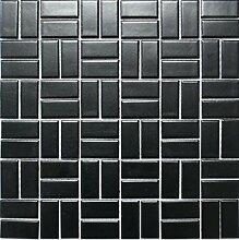 Mosaik Fliese Keramik Windmühle schwarz matt