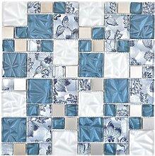 Mosaik Fliese Kombination Crystal/Stahl mix