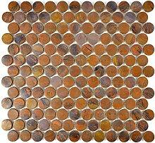 Mosaik Fliese kupfer Knopf braun für WAND BAD WC