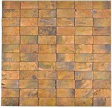 Mosaik Fliese Kupfer kupfer Stäbchen 3D braun