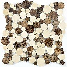 Mosaik Fliese Marmor Naturstein beige braun Rund
