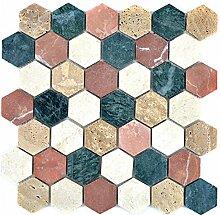 Mosaik Fliese Marmor Naturstein creme beige rot