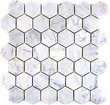 Mosaik Fliese Marmor Naturstein Hexagon Marmor