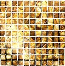 Mosaik Fliese Muschel beigebraun für WAND BAD WC