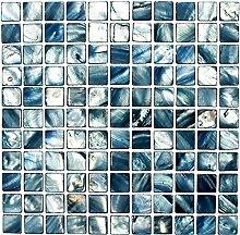 Mosaik Fliese Muschel blaugrau für WAND BAD WC